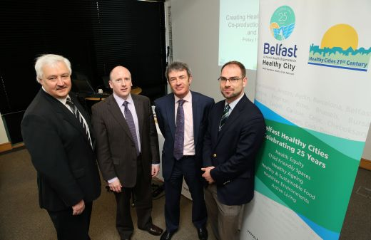 Belfast Healthy Cities welcomed speakers Donal Rogan, Belfast City Council, Deputy Chief Medical Officer Dr Paddy Woods and Professor David Stuckler, Oxford University, pictured with Seminar Chair, John McMullan, Bryson Charitable Group and Board of Directors.